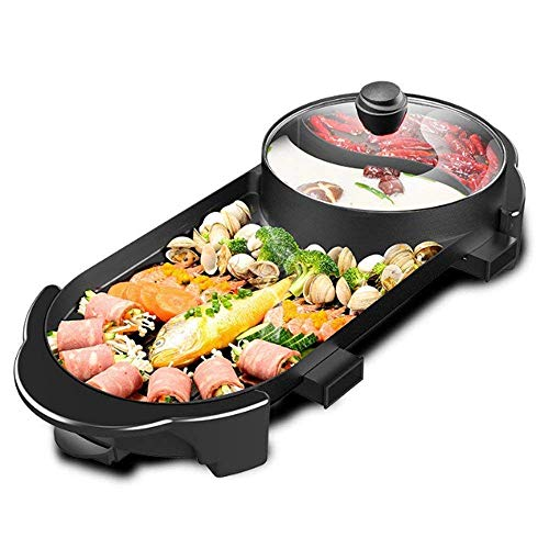 Kacsoo Hot Pot – Barbacoa eléctrica de mesa con tapa variable 5 temperaturas – 2400 W 2 parrillas 2 sabor sartén antiadherente gran capacidad para barbacoa interior