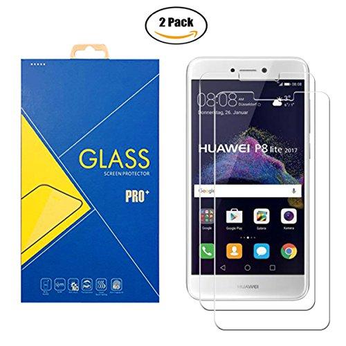 Glass Com Lot de 2 films en verre trempé - Protection d'écran anti-choc et anti-rayure pour Huawei P8 Lite 2017 - PRA-LA1 / PRA-LX2 / PRA-LX1 / PRA-LX3 / Honor 8 Youth Edition / Huawei Nova Lite