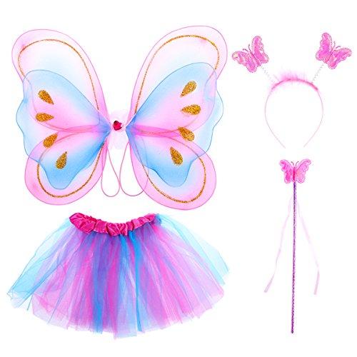 Tinksky - Set di 4 costumi da fata con ali per bambine e bambine, con tutù e ali di farfalla, per feste