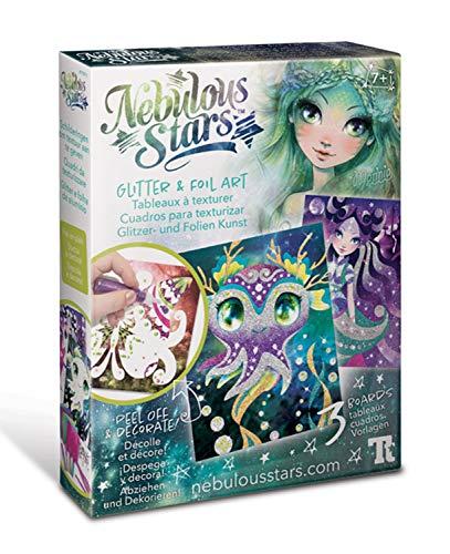 Nebulous Stars NS11011 Creatieve set glitter- en foliekunst, 3 sjablonen om te versieren met gemetalliseerde folie en glitter, voor meisjes vanaf 7 jaar, als cadeau-idee