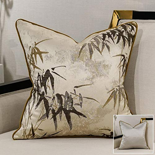 Almohada Bordada China Figura de Hoja de bambú Cojín de Almohada de sofá @ 45X45Cm_Thousand Bamboo Beige