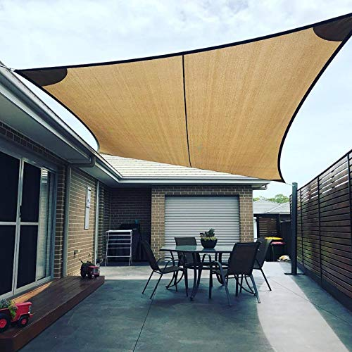 ZJHTK Toldo de protección solar con protección UV, impermeable, rectangular, con kit de fijación, toldo de ocio de alta densidad, con cuerda para exteriores, patio, jardín, fiesta, color blanco