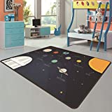 JTYX CARPETS Alfombra de Juego Infantil Cartoon Planet Series Baby Crawling Mat Sala de Estar Dormitorio Alfombras de Noche,Azul,140X230CM