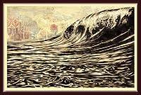 ポスター オベイ Dark Wave/Shepard Fairey 手書きサイン入り 額装品 ウッドベーシックフレーム(ブラウン)