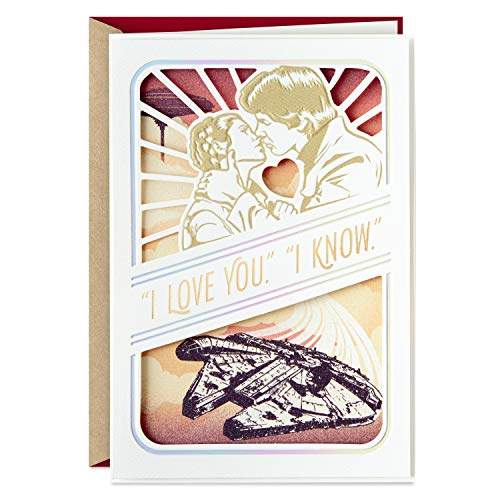 Hallmark Star Wars Valentines Day Card, Anniversary Card, or Love Card (Han Solo, Princess Leia)