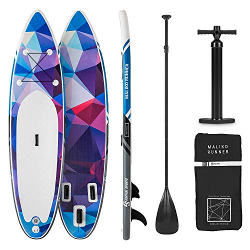 Capital Sports Maliko Runner - Paddle Board aufblasbar, SUP-Board-Set, Komplettset: Board + Paddel + Leash + Rucksack + Pumpe, Touring-Board: Cruiser Shape, ausziehbares Aluminium-Paddel, blau/rot