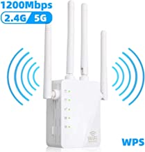 WiFi Range Extender, 1200Mbps Wireless Signal Repeater Booster, Dual Band 2.4G and 5G Expander, 4 Antennas 360° Full Coverage, Extend WiFi Signal to Smart Home & Alexa Devices(CX1200U)
