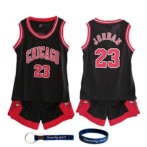 Daoseng Kind Jersey Bulls Vintage NBA-Champion Michael Jordan Jersey Chicago Bulls Nr. 23 Basketbal (Kind/Schwarz, XL/Kind Höhe 150-160CM)
