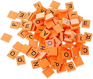 Wooden Alphabet Scrabble Tiles Square Alphabet Capital Letters Block with Numbers for Crafts Pendants Scrapbook Card Kids Wooden Learning Puzzle Toy Game Spelling Toy Orange 100Pcs