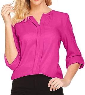 Loyomobak Women's Solid Color Long Sleeve Chiffon Plus Size V-Neck Stylish Chiffon Blouse Shirt Top