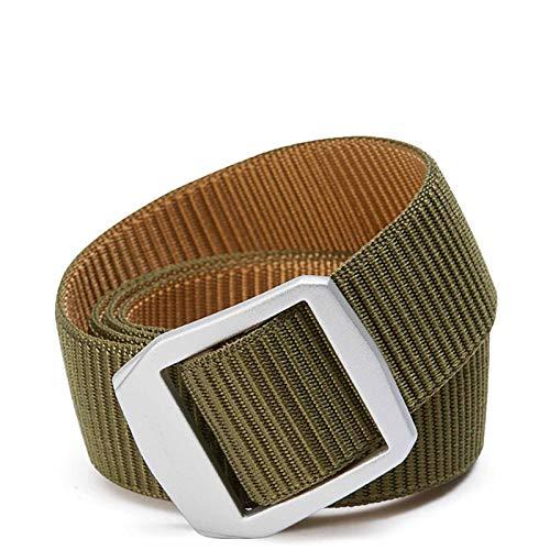 Fanuosuwr Cinturón de Lona Popular Cinturón de Nylon para Hombres Ocio para jóvenes Uso de Doble Cara Hebilla de Plata/Cinturón de Lona de aleación de Aluminio marrón Verde