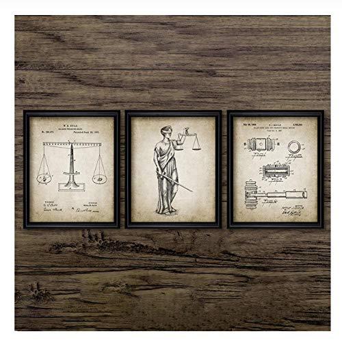 Terilizi Anwalt Wettelijke Patent Poster en afdrukken Weegschaal van de Sovjet-Aanwalt Gift Kunst Canvas Schilderij Anwaltskamer Wanddecoratie 50 * 70cm-niet ingelijst-3 stuks