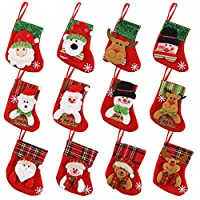 Calze di Natale classiche - Vieni con 12 calze di Natale piccole, design di Babbo Natale, Pupazzo di neve e Renna, migliorerebbe l'atmosfera festosa. taglia - Calza natalizia ca. 6 pollici di lunghezza e 5 di larghezza. È ottimo per contenere carte r...