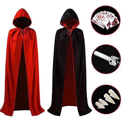 Hook Umhang Schwarz Rot mit Kapuze(140cm), Vampir Teufel Kostüm Halloween Tod Kultfaktor Hexe für Herren or Damen, 10x Temporäre Tattoos, 4X Vampirzähne