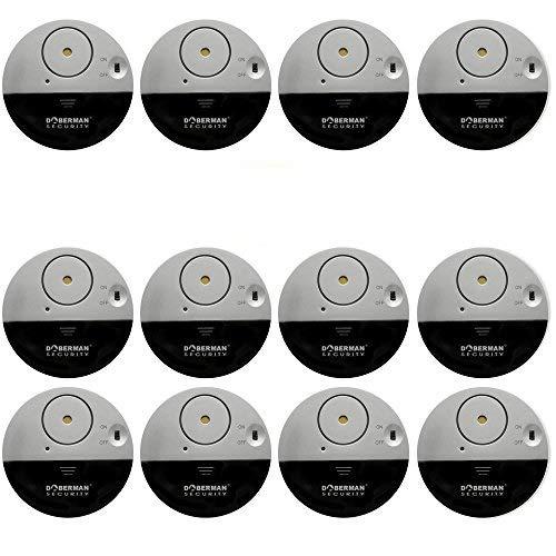 [12 Stück]WER Ultra-Dünner Fensteralarm mit lautem 100dB Alarm und Vibrationssensoren - Moderne und ultra-dünnen Design Kompatibel mit jedem Fenster - Modell SE-0106