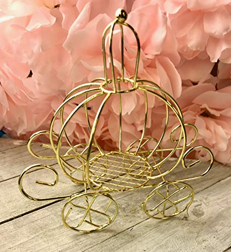 OOKI-Mini Prinrcess Gold Carriage Cake Topper for Wedding Party Cake Decoration (Gold Carriage)