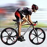 N/PP Road Bike Aluminum Full Suspension Road Bike 21 Speed Disc Brakes, 700C Dual Disk Brake City...
