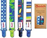 Soothie Pacifier Clip Boy by Akeekah | 4 Pack | Luxury Eco-Friendly Gift Box | Pacifier Leash & Binkie Clips with Awesome Colorful Designs | Safe BPA Free & Washable Plastic Baby Pacifier Clips | Easy