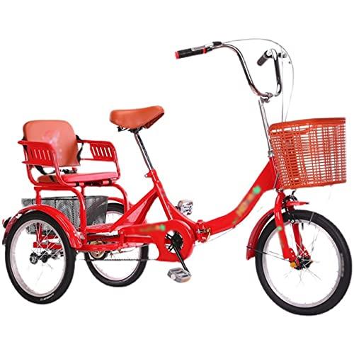 Triciclos para Adultos Personas Mayores Pedal 16 Pulgadas Crucero Triciclo Bicicleta 3 Ruedas Deportes Al Aire Libre Compras Ajustable (Color : Red)