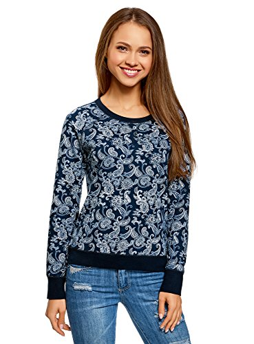 oodji Ultra Damen Bedrucktes Sweatshirt Basic, Blau, DE 34 / EU 36 / XS