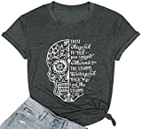She Whispered Back I Am The Storm T Shirt Women Motivational Graphic T-Shirts Casual Short Sleeve Tee Tops(Grey,X-Large)