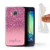 Personnalisé Coque pour Samsung Galaxy A3/A300 Effet Paillettes Coutume Rose Désign Transparent...