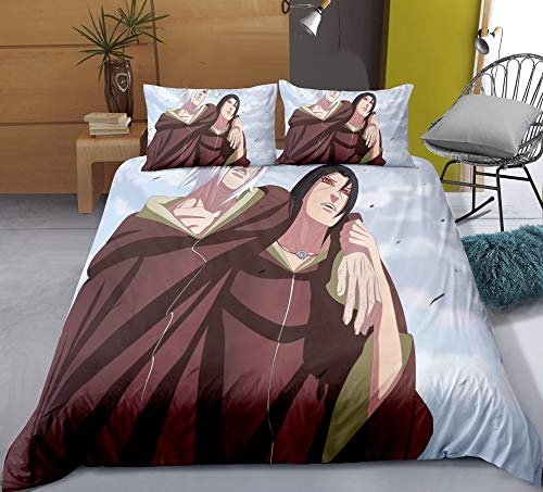 Chzhcc Three-piece Quilt Cover for NARUTO Nagato Pain Uchiha Itachi, 3D Anime Quilt Pillowcase, 100% Polyester, Soft and Comfortable, Bedding for Otaku and Anime Fans, Best Birthday Gift
