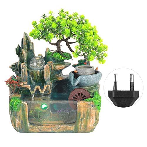 Oreilet Fuente de Mesa, decoración de bonsái en Cascada, Hermosa Resina sintética Exquisita Creativa simulada Duradera para Adornos de Escritorio contenedor de Peces Oficina en casa