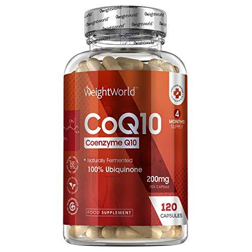 Coenzima Q10, Ubichinone Puro 200mg ad Alto Dosaggio, 120 Capsule Vegan (4 Mesi di Fornitura) - Coenzima q10 200mg - Cuore, Energia, Memoria, Pelle, Capelli - Q10 Coenzima Fermentato - Senza Glutine