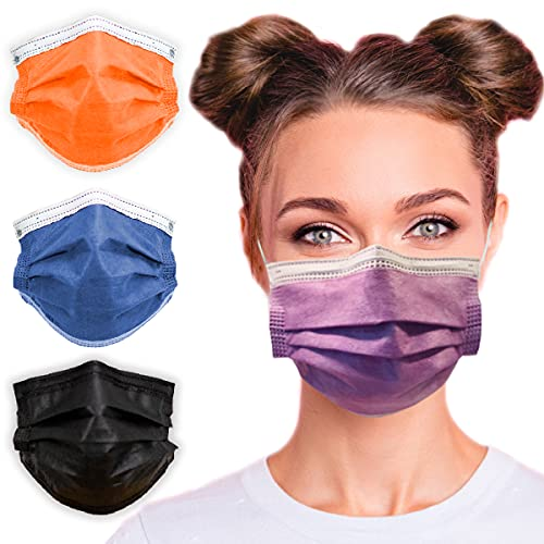3-Ply Breathable Disposable Face Mask (Lavender Purple) - Made in USA - Comfortable Elastic Ear Loop | Non-Woven Polypropylene | Block Dust & Air Pollution | For Business and Personal Care (50pcs)