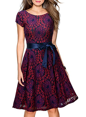 MIUSOL Women's Vintage Floral Lace Contrast Bow Cocktail Evening Dress, Dark Red and Purple, Medium