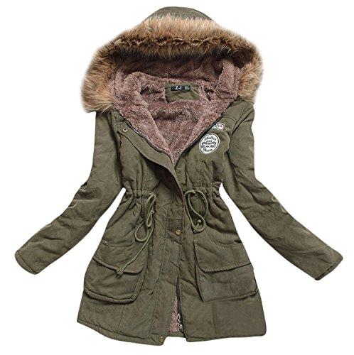 Aro Lora Women's Winter Warm Faux Fur Hooded Cotton-padded Coat Parka Long Jacket US 6 Green