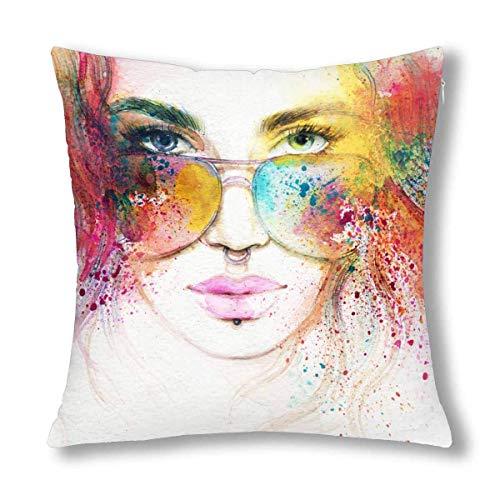 HZLM Funda de cojín decorativa para mujer con gafas de sol, 45 x 45 cm, diseño de retrato con cremallera