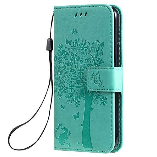 iPhone11ProMax 6.5インチ グリーン 手帳型ケース iPhone 11 Pro Max 型押し ねこ 蝶々 ツリー ウッド 木 ストラップ付き レザー 合皮 マグネット開閉 カード収納 スタンド スマホケース i11-iC-165