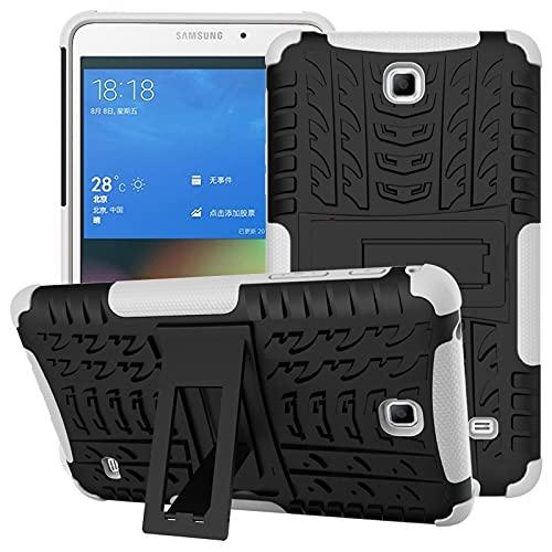 Mangas de la bolsa de la caja de la PC de la table Cubierta de tableta para Samsung Galaxy Tab 4 / T230 Textura de neumáticos TPU + PC Funda protectora con soporte de mango plegable ( Color : White )