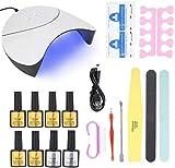 Cfbcc Nail 36W LED UV lámpara de uñas Esmalte de uñas de Limpieza en la manicura Herramientas Kit Profesional de uñas Kit Polaco Que Cura la luz (lámpara de uñas Set) (Size : Nail Lamp Set)