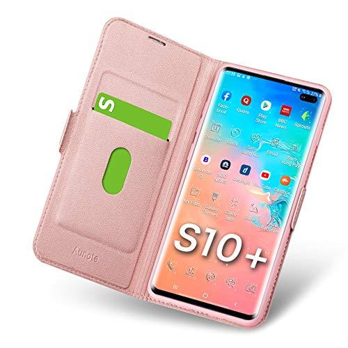 Aunote Samsung Galaxy S10 Plus Hülle, Handyhülle Samsung S10 Plus, Schutzhülle Samsung S10 Plus, Tasche S10 Plus, Klapphülle S10 Plus, Etui Flip Phone Cover Hülle, Hülle S10 Plus klappbar. Rosegold