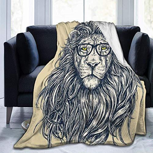 Manta de león hipster con gafas, manta suave, manta de forro polar, 127 x 102 cm