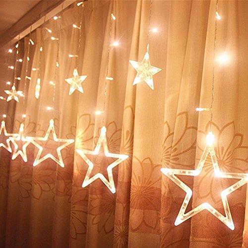 Locisne 138 LED Collegabile 12pcs Star 1*2m luci luce lampada paesaggio finestra con i 8 modi per Natale,vacanze,Capodanno festa,nozze Albero Giardino,Patio,fase,decorazione della casa(bianco caldo)