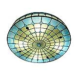Lámpara de Techo Tiffany Luz de Techo de Montaje Empotrado Colorida y Creativa Hecha a Mano Plafón Decoración para Dormitorio, Sala de Estar, Hotel, Cocina, Restaurante, Azul, E27 Base,Ø50cm