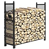 KINGSO 4ft Firewood Rack Outdoor Heavy Duty Mesh Log Rack Firewood Storage Rack Holder Steel Tubular Easy Assemble Fire Wood Rack for Patio Deck Log Storage Stand for Indoor Outdoor Fireplace Tool