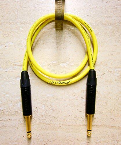 Gitarre Instrument, Kabel, Van Damme gelb Ultra 3Meter Länge beendet, mit hochwertigem Neutrik 6,3mm (1/10,2cm) Mono Klinkenstecker vergoldet mit Schwarz Bezügen.
