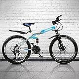 MENG 26 Pulgadas 21/24/27 Velocidad Plegable Bicicleta de Montaña Acero de Alto Carbono Suspensión Completa Mtb Bicicleta para Adultos Doble Disco Freno Bicicleta de Montaña Exterior para Hombres Muj