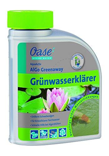 Oase 43142 AquaActiv AlGo Greenaway Grünwasserklärer 500 ml - hocheffektives Teichpflegemittel gegen Schwebealgen und grünes Teichwasser im Gartenteich Koiteich Schwimmteich Fischteich