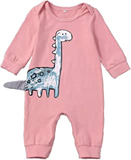 Hipea Newborn Baby Girl Clothes Romper Bodysuits Cotton Dinosaur One-Piece Jumpsuit Infant Fall Outfits
