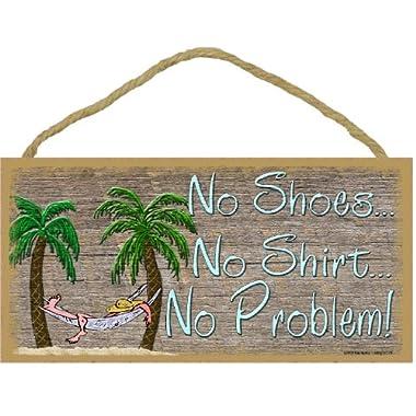 No Shoes No Shirt No Problem Palm Tree Beach Wall Decor Tiki Bar Hammock Sign 5 x10