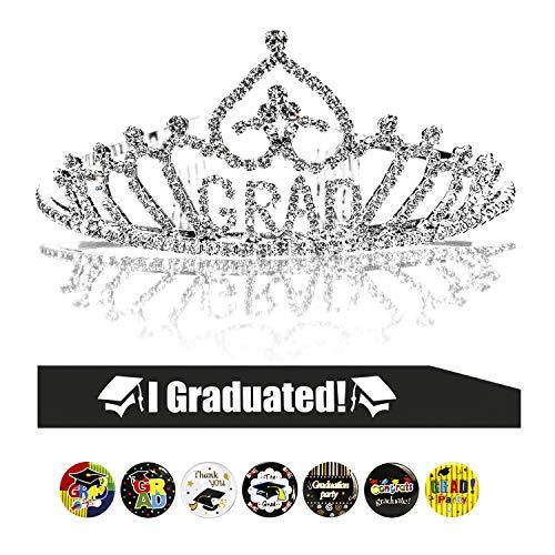 Konsait Graduation Party Supplies, Graduation Princess Grad Tiara & Graduated Sash & Graduation Button Pin for Grad Party Gift Idea Graduation Party Decorations Decor Favors Ornament