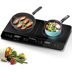 Aobosi inductie kookplaat, dubbele inductiekookplaat, elektrische kookplaat draagbaar, sensor touch control en kristal glas plaat, 4-uurs timer functie, 3500W *