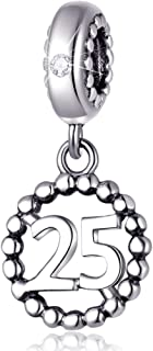 25 Number Bracelet Charms,925 Sterling Silver Pendants Beads Fit Pandora Charm Bracelets, Necklace, and European Snake Chain, Dangling Dangle for Happy Birthday Number 25th/ 25 Years/Twenty Five