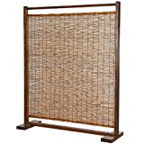 MyGift Rustic Style Dark Brown Wood and Reed Single Panel Privacy Screen Room Divider